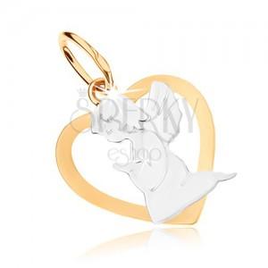 Rhodiovaný přívěsek z 9K zlata - obrys srdce s andílkem, dvoubarevné provedení