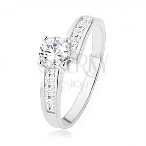 Třpytivý stříbrný prsten 925 vykládaný zirkony, velký čirý kamínek