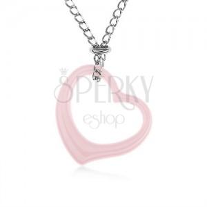Ocelový náhrdelník, růžová keramická kontura srdce, řetízek stříbrné barvy