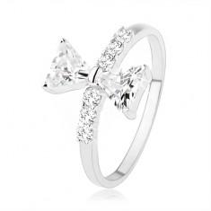 Stříbrný prsten 925, mašle ze zirkonů, drobné zirkony na ramenech SP39.10
