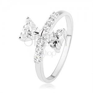 Stříbrný prsten 925, mašle ze zirkonů, drobné zirkony na ramenech