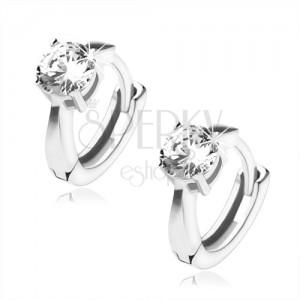 Lesklé stříbrné náušnice 925 - kroužky, čirý kulatý kámen, obdélníkové výřezy