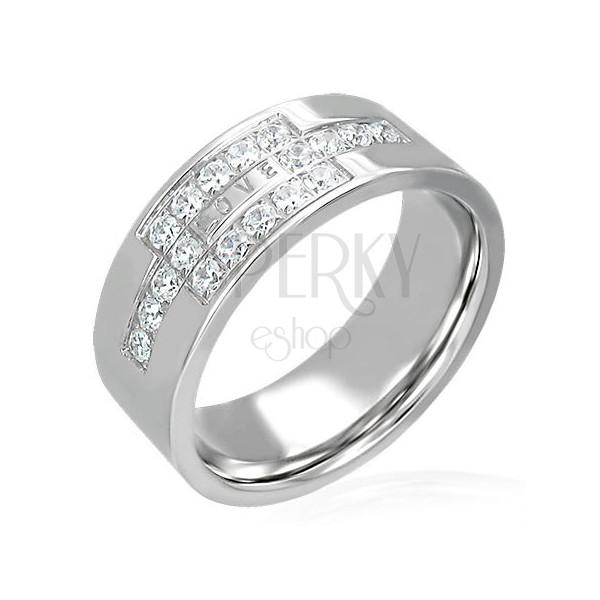 Ocelový prsten se zirkony a nápisem LOVE