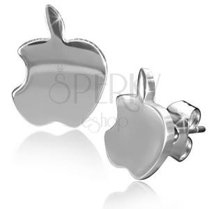 Lesklé ocelové náušnice, jablíčka stříbrné barvy