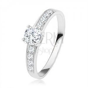 Stříbrný prsten 925, čiré zirkony, velký kulatý zirkon