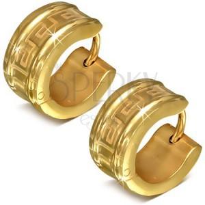 Kruhové náušnice z chirurgické oceli zlaté barvy, motiv řeckého klíče