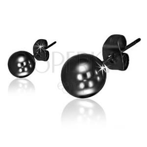 Puzetové náušnice z oceli, lesklé kuličky černé barvy
