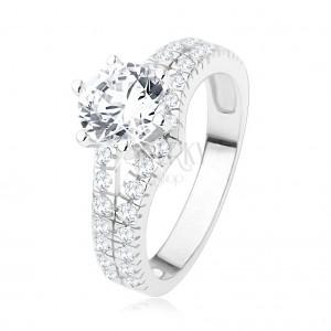 Zásnubní prsten ze stříbra 925 - velký čirý kamínek, rozdvojená zirkonová ramena