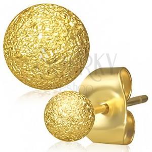 Ocelové náušnice zlaté barvy, kuličky s pískovaným povrchem, puzetky