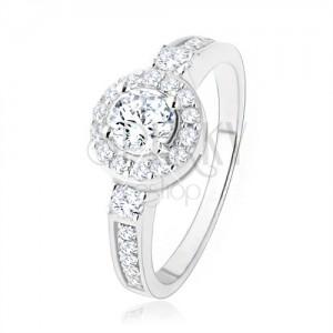 Stříbrný zásnubní prsten 925, čiré zirkonové slunce, blyštivé kamínky