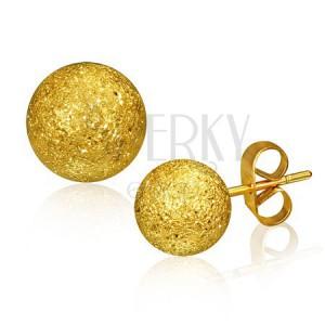 Ocelové náušnice, kulička zlaté barvy s pískovaným povrchem, 6 mm