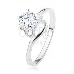 Zásnubní prsten ze stříbra 925, úzká zatočená ramena, čirý zirkon