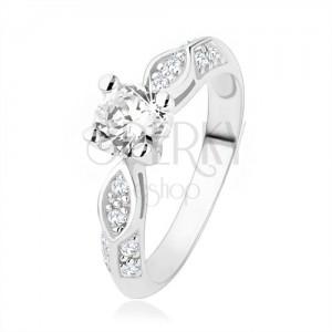 Stříbrný prsten 925, zásnubní, čiré zirkony, lesklý ovál, vypouklá linie