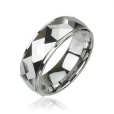 Wolframový prsten s vybroušenými hranatými plochami, vysoký lesk, 8 mm