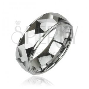 Wolframový prsten s hranatým vlnkováním