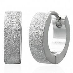 Pískované lesklé náušnice z chirurgické oceli, stříbrná barva SP38.31