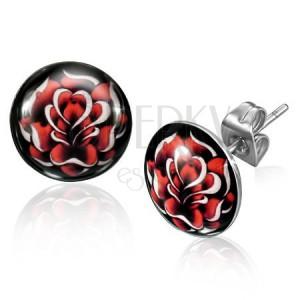 Ocelové puzetové náušnice stříbrné barvy, rozkvetlá červená růže