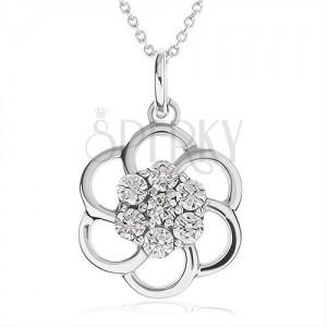 Náhrdelník ze stříbra 925 - obrys květu zdobený čirými kamínky, řetízek