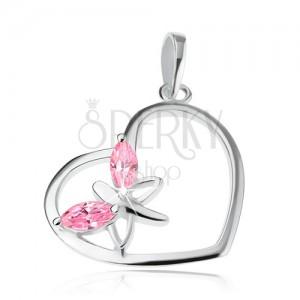 Přívěsek ze stříbra 925, kontura srdce, motýl - růžová zirkonová křídla