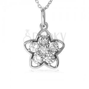 Náhrdelník ze stříbra 925, stříbrná silueta květu, květ z čirých zirkonů