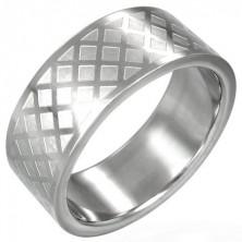 Prsten z chirurgické oceli - mřížka