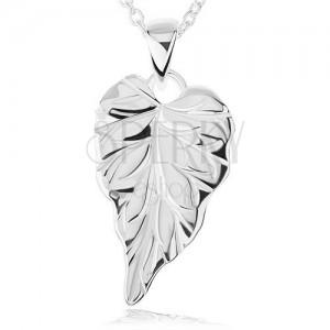 Stříbrný náhrdelník 925 - lesklý gravírovaný list, řetízek