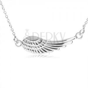 Stříbrný náhrdelník 925, přívěsek - andělské křídlo s gravírováním