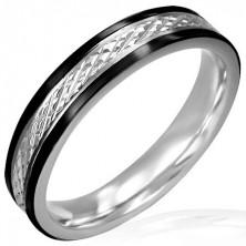 Ocelový prsten se šrafováním a černými linkami - úzký