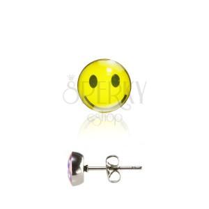 Ocelové náušnice s puzetkou, glazovaná hlavička, žlutý usměvavý smajlík