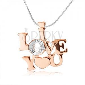 """Stříbrný náhrdelník 925 - lesklý nápis """"I LOVE YOU"""" měděné barvy"""