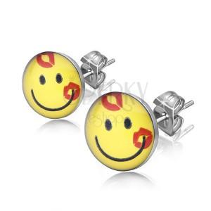 Ocelové náušnice, čirá glazura, žlutý usměvavý smajlík s polibky