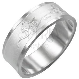 Prsten z chirurgické oceli - lesklý ornament