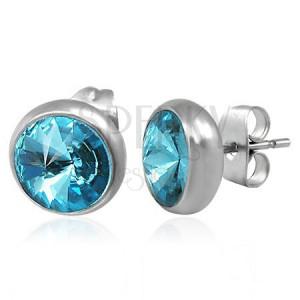 Náušnice z oceli, stříbrná barva, puzetka, modrý broušený zirkon, 8 mm