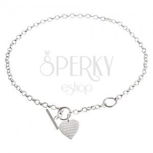 Stříbrný náhrdelník 925, ploché souměrné srdce s nápisem - přání