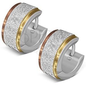 Náušnice z oceli, třpytivý proužek, okraje ve zlatém a měděném odstínu