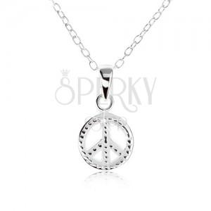 Náhrdelník ze stříbra 925, přívěsek - symbol míru, gravírované kuličky