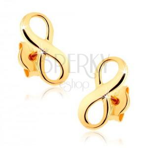 Zlaté náušnice 375 - lesklý symbol nekonečna