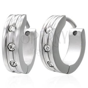 Ocelové náušnice - lesklé kroužky stříbrné barvy, tři kulaté zirkony