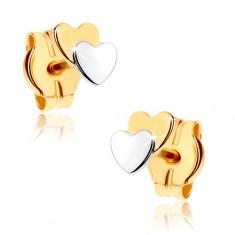 Puzetové náušnice z 9K zlata - dvě malá srdíčka, dvoubarevné GG36.07