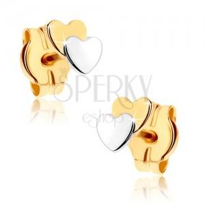Puzetové náušnice z 9K zlata - dvě malá srdíčka, dvoubarevné