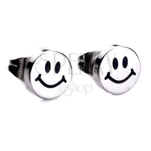 Lesklé puzetové náušnice z oceli, stříbrná barva, usměvavý smajlík
