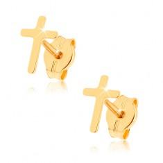 Náušnice ze žlutého 9K zlata - lesklý latinský křížek