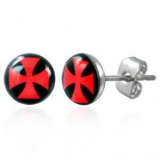 Náušnice z oceli, čirá glazura, červený maltézský kříž na černém podkladu SP51.10