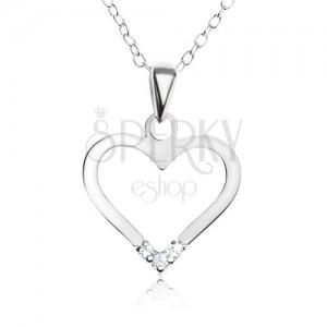 Nastavitelný náhrdelník - stříbro 925, přívěsek kontura srdce, čiré zirkony