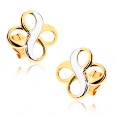 """Dvoubarevné náušnice z 9K zlata - dva symboly """"INFINITY"""", rhodiované GG37.09"""