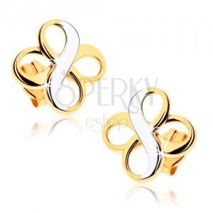 """Dvoubarevné náušnice z 9K zlata - dva symboly """"INFINITY"""", rhodiované"""