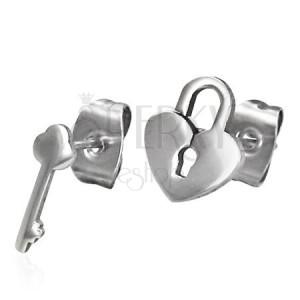 Lesklé ocelové náušnice - rozdílný vzor - zámek a klíč, puzetky