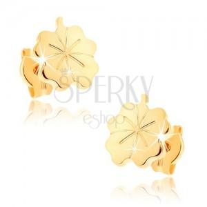 Zlaté náušnice 375 - lesklý gravírovaný čtyřlístek pro štěstí