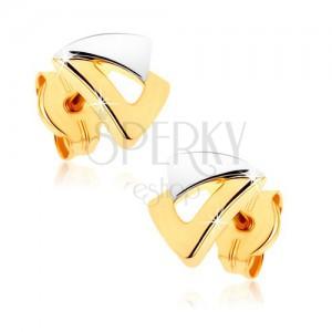 Puzetové náušnice z 9K zlata - dva trojúhelníčky ve dvoubarevném provedení