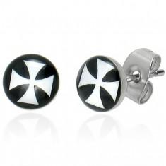 Puzetové náušnice z oceli, glazura, bílý maltézský kříž na černém pozadí SP51.18
